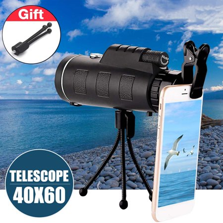 40x60 HD Waterproof Universal Phone Telescope,Focus Zoom Optical Lens Monocular Telescope+ Tripod + Mini Clip for Outdoor Camping Hunting Traveling Boating Beach (3 (Best Telescope For 200)