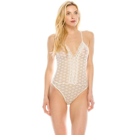 - Salt Tree Women's Strappy Sweetheart Sheer Lace Trim Detail Snapped Bodysuit