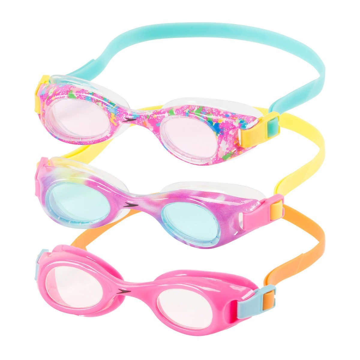 Speedo Kids Swim Goggles Triple Goggle Pack ~ Fun Prints (Orange) by Speedo