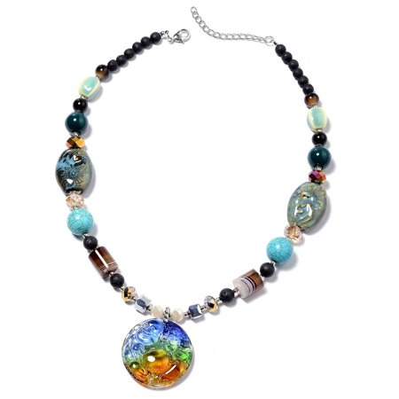 Bead Strand Necklace Brown Agate Blue Howlite Jewelry for Women Gift Size 24