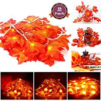 2 Pack Maple Leaves String Lights, 40 LED Bulbs 19.6ft Fall Garland Decoration Lights, Idea for Halloween, Thanksgiving days, Christmas and Birthday Party Indoor Outdoor Decorations