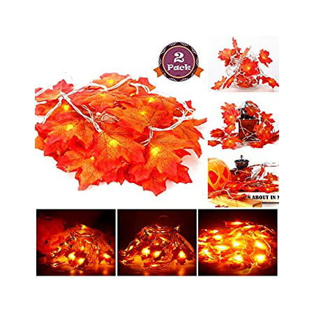 Ideas For Making Halloween Decorations (2 Pack Maple Leaves String Lights, 40 LED Bulbs 19.6ft Fall Garland Decoration Lights, Idea for Halloween, Thanksgiving days, Christmas and Birthday Party Indoor Outdoor)