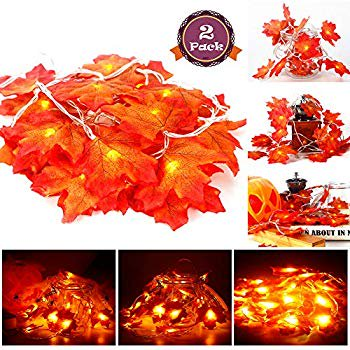 2 Pack Maple Leaves String Lights, 40 LED Bulbs 19.6ft Fall Garland Decoration Lights, Idea for Halloween, Thanksgiving days, Christmas and Birthday Party Indoor Outdoor Decorations ()