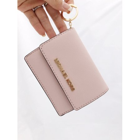 d729879a9060 Michael Kors - Michael Kors Jet Set Card Holder Key Ring Chain ID Blossom Pink  Wallet - Walmart.com