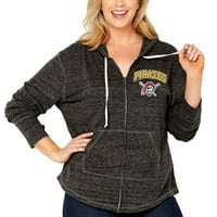 Pittsburgh Pirates Soft as a Grape Women's Plus Size Infield Fly Full Zip Hoodie - Heathered Black