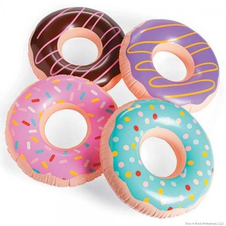(4) JUMBO FROSTED DONUT Shaped Inflatables - Blow Up Pool Party Favor Toys luau Novelty Items - Pool Party Items