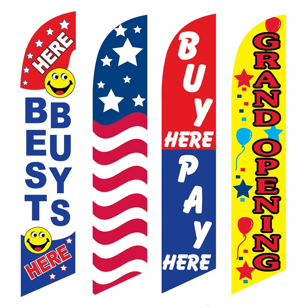 4 Advertising Swooper Flags Best Buys USA Buy Pay Here Grand Opening