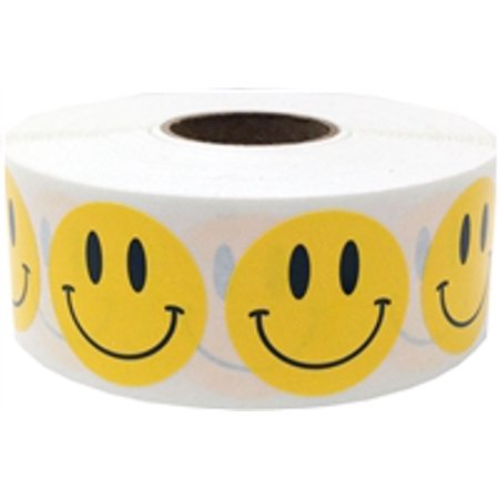 Yellow Smiley Face Circle Dot Stickers, 1 Inch Round, 500 Labels on a Roll