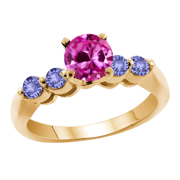 1.32 Ct Pink Created Sapphire Blue Tanzanite 18K Yellow Gold Engagement Ring by