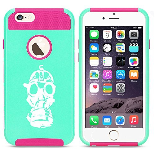 Apple iPhone SE Shockproof Impact Hard Soft Case Cover Gas Mask Zombie (Light Blue-Hot Pink) by