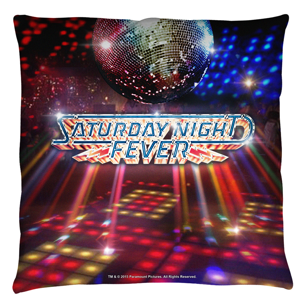 Saturday Night Fever Dance Floor Throw Pillow White 18X18