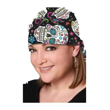 That's A Wrap Women's Biker Sugar Skulls Black/Pastel Bandana Head Wrap. HW2951 - Skull Bandana