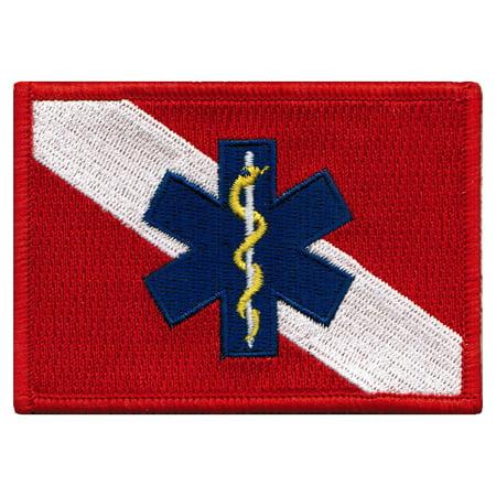 Emt Uniform - Rescue Diver Flag Star of Life EMT Uniform Iron-on Embroidered Patch