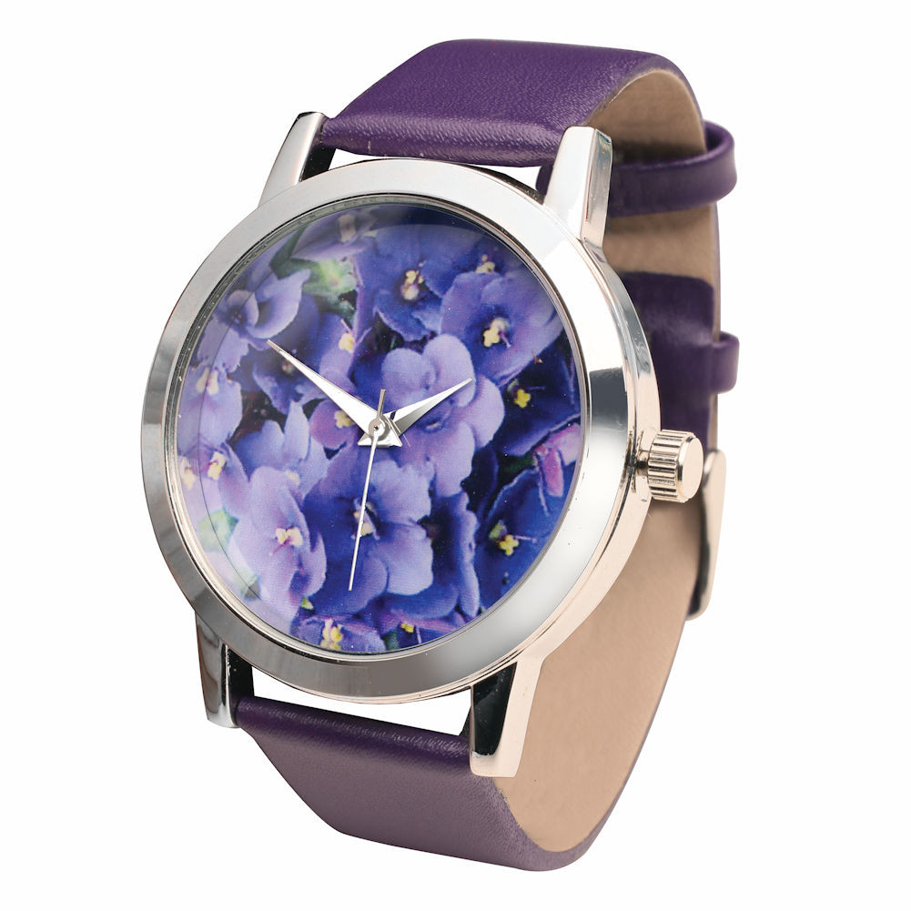 Women's Purple Leather-Band Watch - Flower Face Sweet Violets