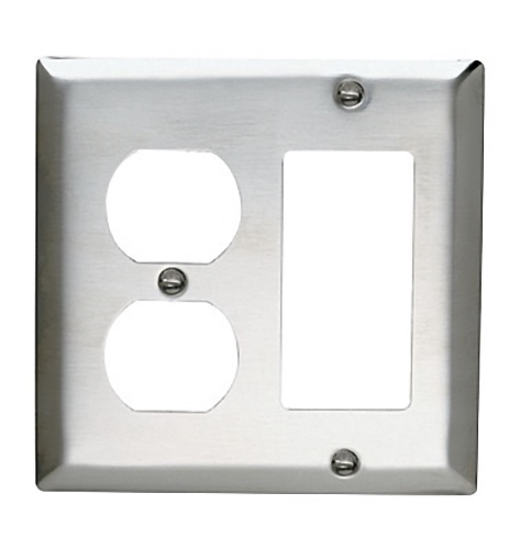 Pass and Seymour SS826 Non-Magnetic Stainless Steel Combination Two Gang One Duplex Receptacle One Decorator Wall Plate
