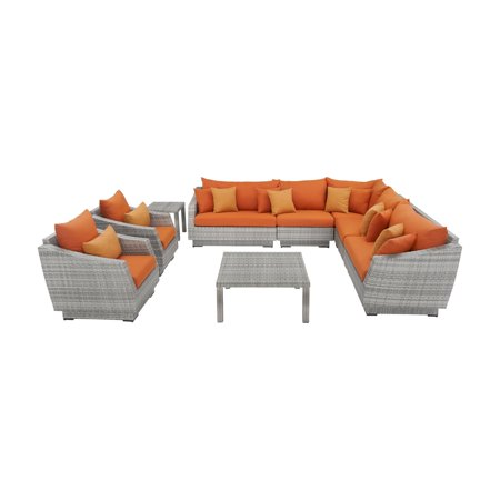 RST Brands Cannes Resin Wicker 9 Piece Sectional Patio Conversation Set