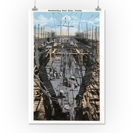 Seattle, Washington - Constructing a Steel Ship Scene (16x24 Giclee Gallery Print, Wall Decor Travel Poster)