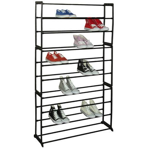 Sunbeam 50-Pair Shoe Rack, Black - Walmart.com