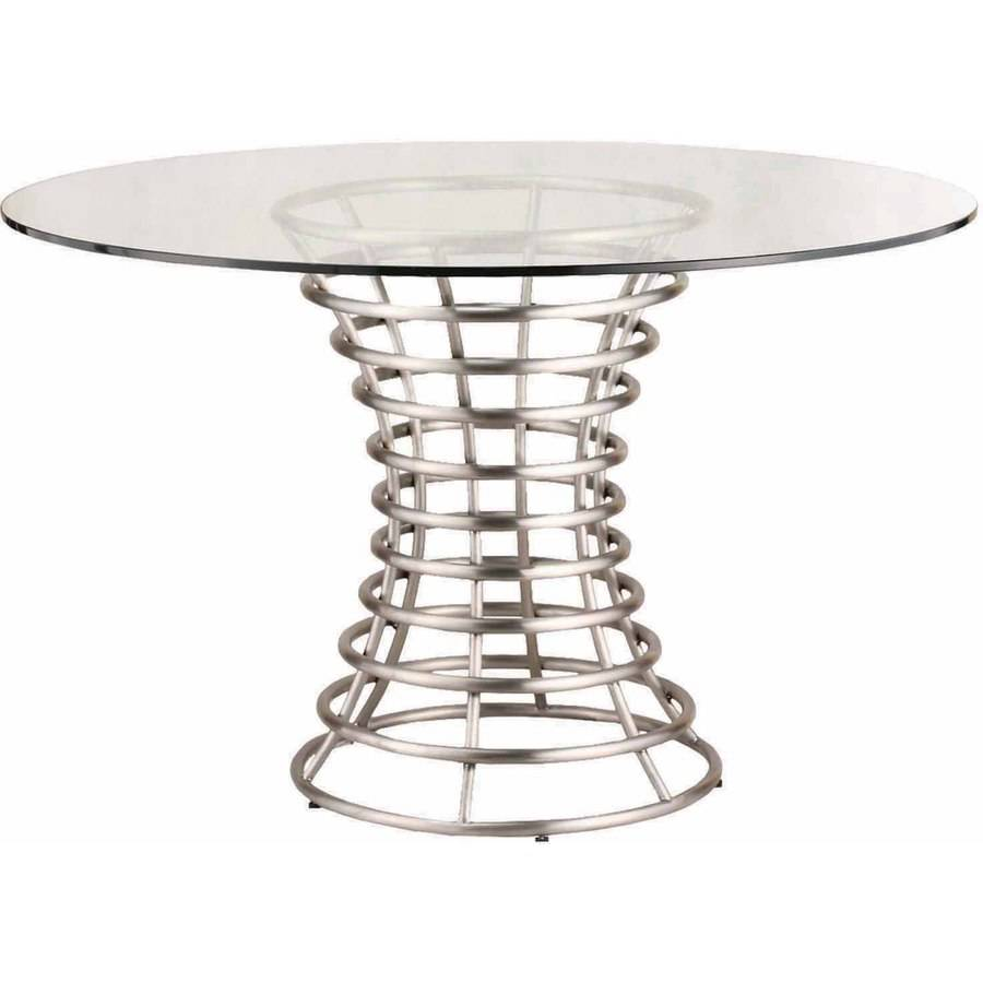 Armen Living Ibiza Brushed Stainless Steel Dining Table with Clear Glass