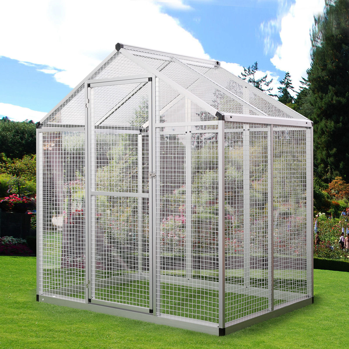 Lazymoon Vision Large Bird Cage Silver Aluminum Bird Aviary Walk In Parrot Cockatiel Macare Finch Cage Pet House Supply