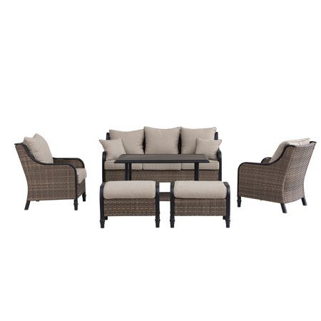 Image of Sunjoy Berrian 6-Piece Brown All-weather Wicker and Black Steel Seating Set with Beige Cushions