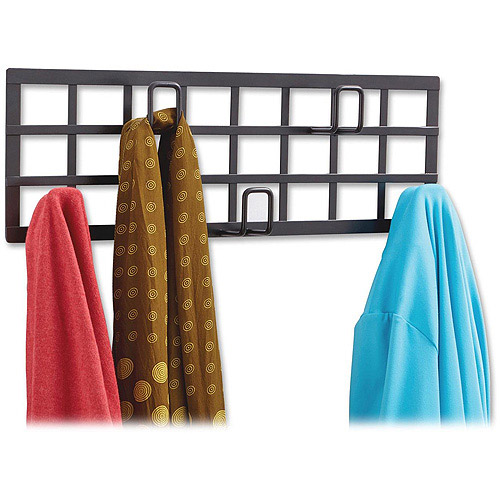 Safco Wall Mount Steel Grid Coat Rack, 5 Hooks