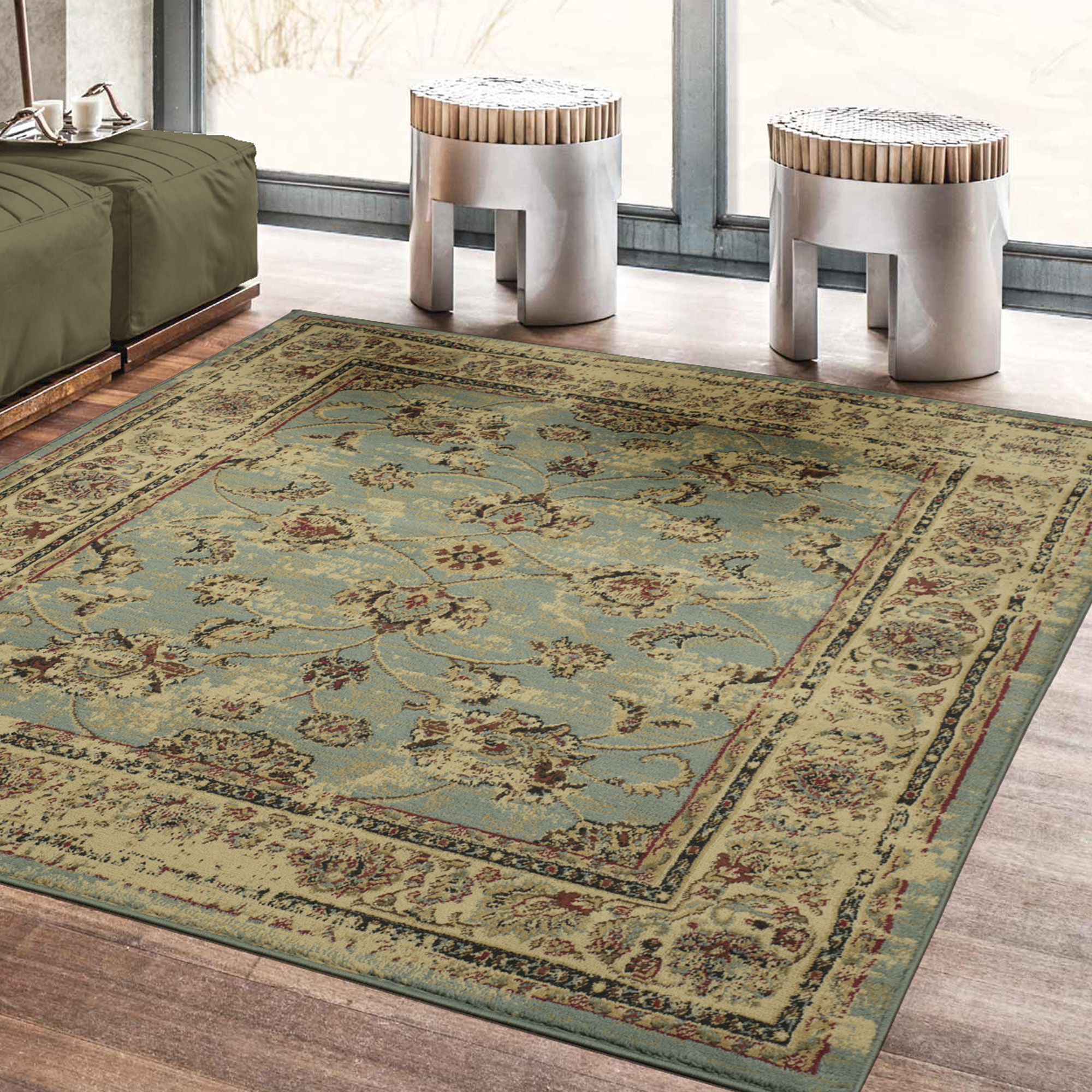 Ottomanson Royal Collection Distressed Floral Design Area