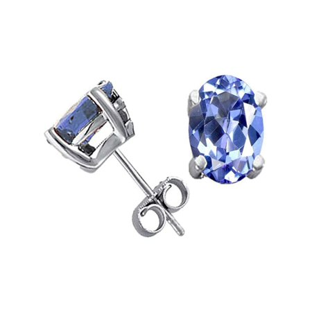 Tommaso Design Oval 7x5mm Genuine Tanzanite Earrings