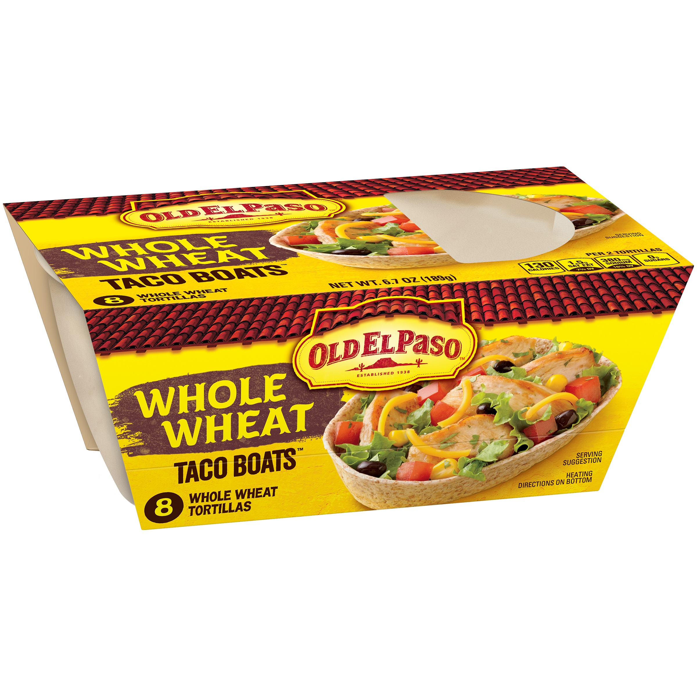 Old El Paso Taco Boats Whole Wheat Tortillas, 8 ct, 6.7 oz by General Mills Sales, Inc.