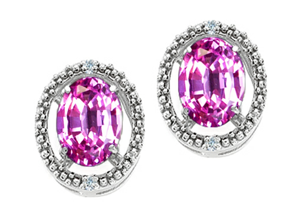 Tommaso Design Oval 8x6mm Simulated Pink Tourmaline Earrings by