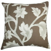 The Pillow Collection Taina Floral Euro Sham Brown