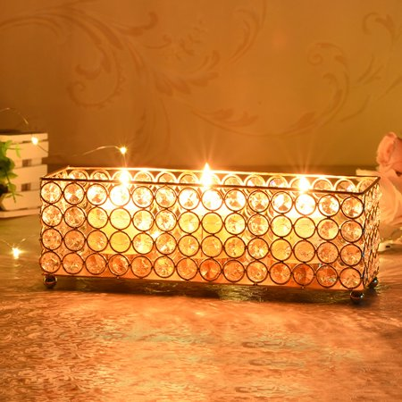 vincigant gold crystal rectangular tealight votive candle holder tray for valentines day table center decoration - How To Decorate Votive Candle Holders For Christmas
