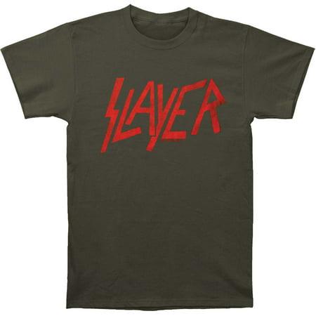 Slayer Men's  Classic Logo Distressed Slim Fit T-shirt