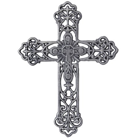 """Stonebriar Collection 13"""" Antique Pewter Cast Iron Metal Wall Cross"""
