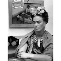 Mexican Painter Frida Kahlo (1907-1954) 1948 Figurative Celebrity Black and White Photography Print Wall Art