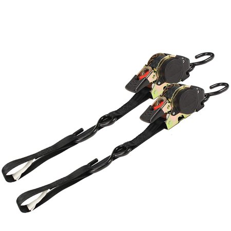 (2 Pack) Retractable Ratchet Straps with Vinyl Coated S Hooks, 1