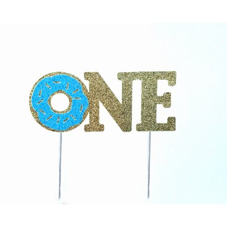 Handmade 1st First Donut Birthday Cake Topper Decoration - one - Made in USA with Double Sided Gold Blue Glitter Stock (Blue)