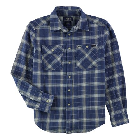 Ralph Lauren Boys Plaid Button Up Shirt navy M - Big Kids (8-20) Boys Ralph Lauren Button