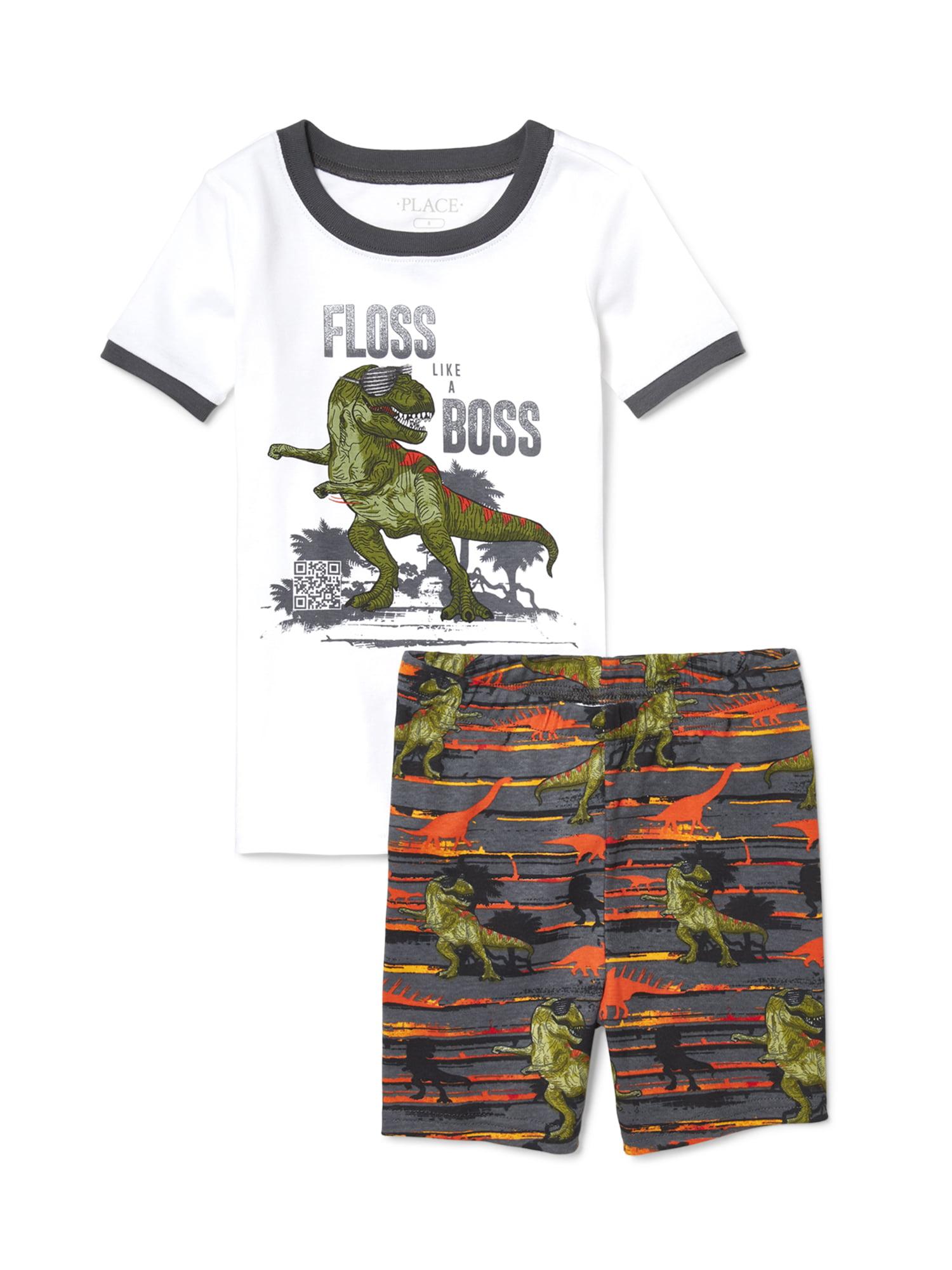 "Boys' Dino ""Floss Boss"" 2 Piece Pajama Sleep Set (Little Boy & Big Boy)"