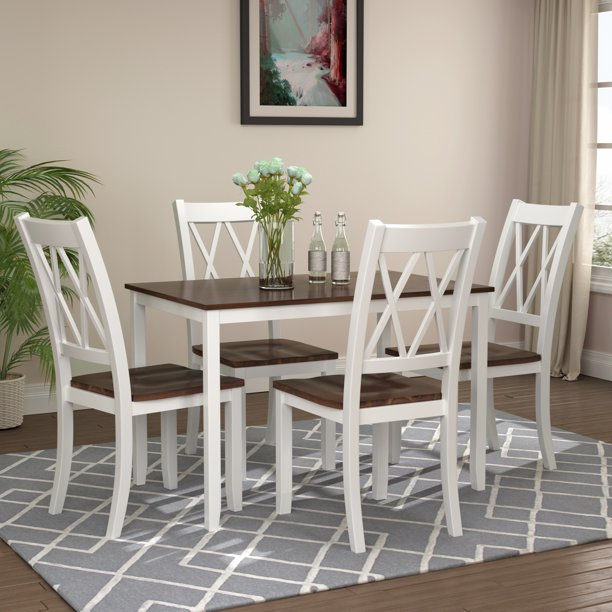 Kitchen Table Chairs Set for 4, BTMWAY 5-Piece Premium Solid Wood
