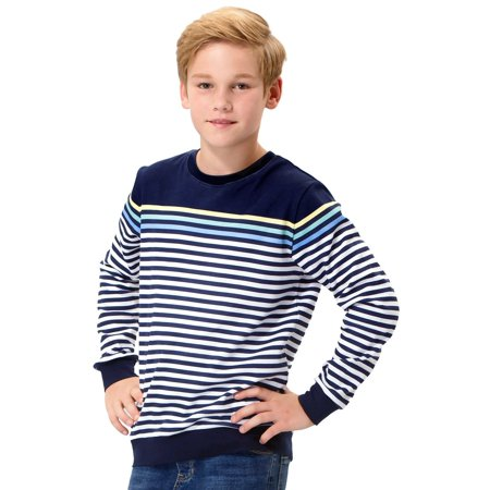 Leo&Lily Big Boys Kids Cotton Stripes Crew Sweatshirt T-Shirts