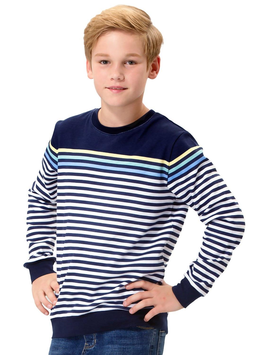Leo&Lily Big Boys Kids Cotton Stripes Crew Sweatshirt T-Shirts