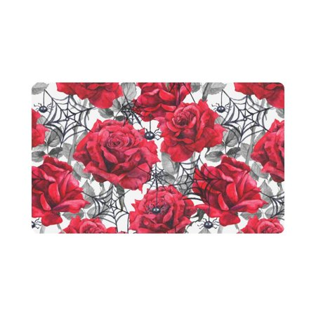MKHERT Watercolor Halloween Decoration Roses Black Spiders and Web Doormat Rug Home Decor Floor Mat Bath Mat 30x18 inch - Level 4 100 Floors Halloween