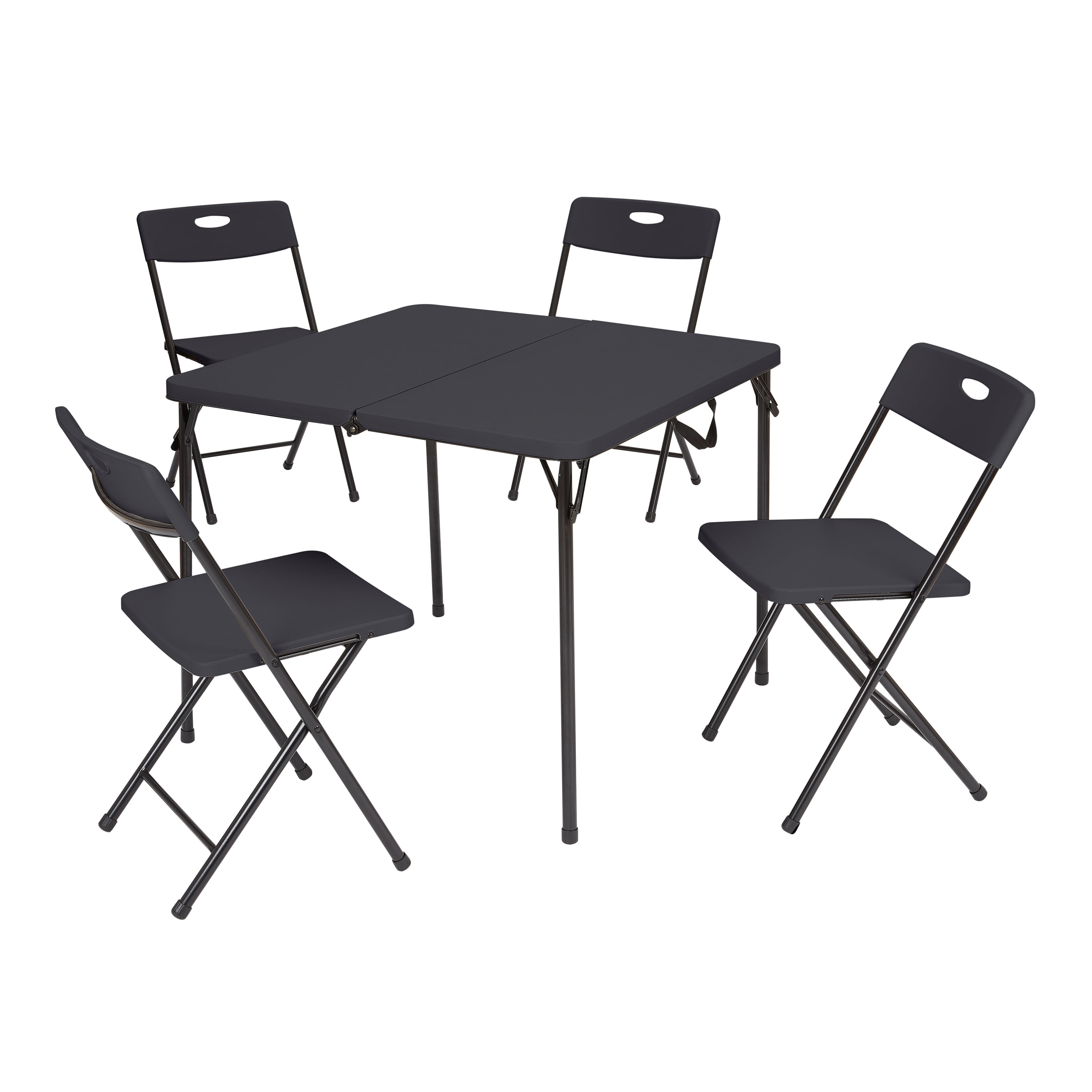 Mainstays 5 Piece Resin Plastic Card Table and Four Chairs Set