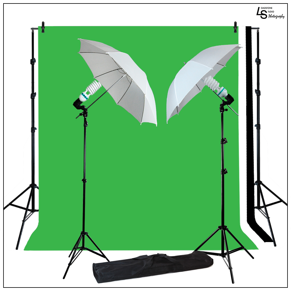 10x10' Multiple Muslin Background Support Kit with 2x 85W CFL Bulbs and 2x White Shoot Thru Umbrellas by Loadstone Studio WMLS0308