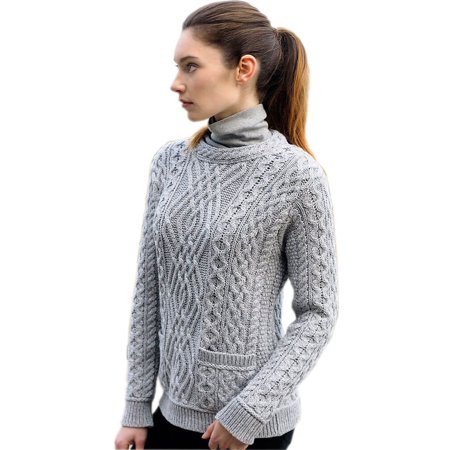 - Ladies Fashion Wool Sweater, 100% Pure New Irish Wool, With Pockets, Gray, Large