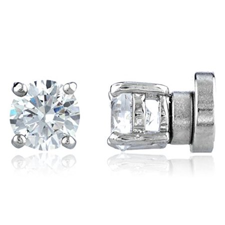 New & Improved! Silvertone with Clear Cz Round Magnetic Stud Earrings - 4mm to 12mm Available (5 Millimeters)