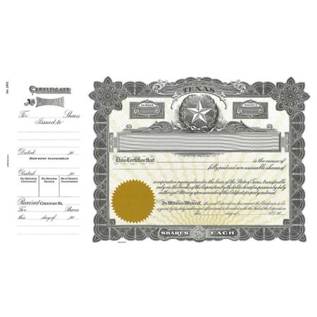 Goes 265 Texas Stock Certificate - Pack of 25 (Stock Certificate Paper)