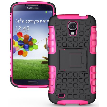NAKEDCELLPHONE PINK GRENADE RUGGED SKIN HARD CASE COVER STAND FOR SAMSUNG GALAXY S4 ACTIVE PHONE (AT&T i537, Unlocked GSM i9252