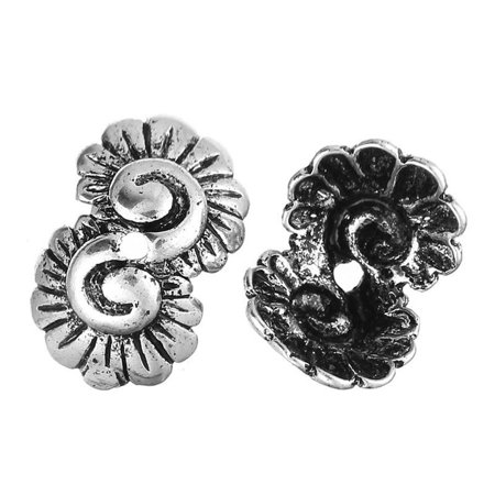 - Sexy Sparkles 4 Pcs Copper Bead Caps Flower Shell Shape Antique Silver 12mm